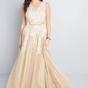ModCloth Memorable Magic Maxi Wedding Dress in Tea